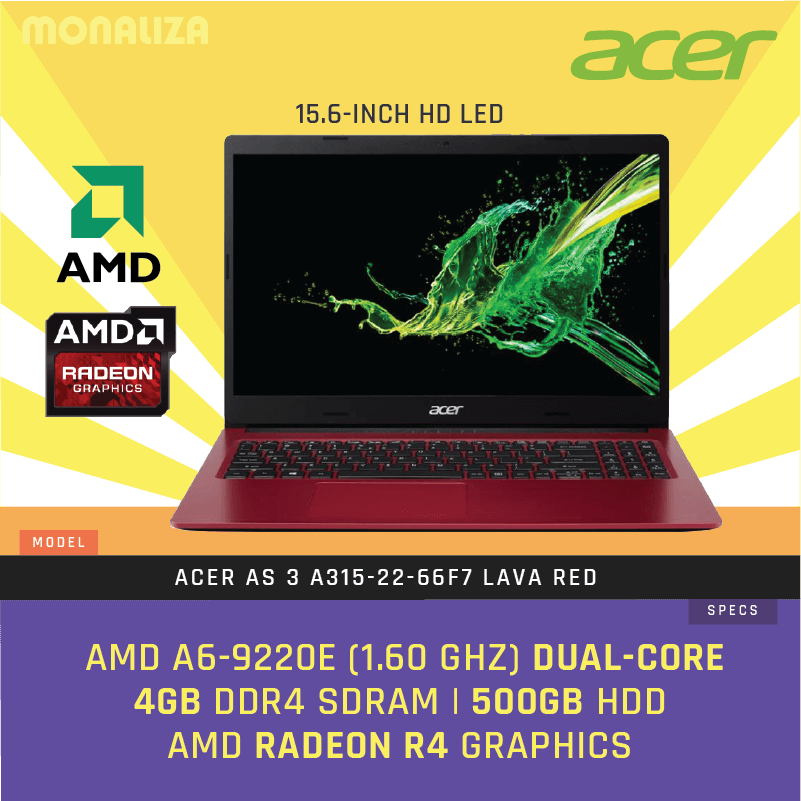 Acer Laptop As 3 A315 22 616z 66f7 Lava Red Charcoal Black Monaliza